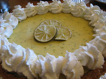 Key lime pie with whipped cream.