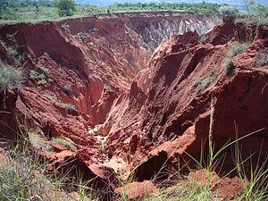 Lavaka (erosion gully) in Madagascar caused by...
