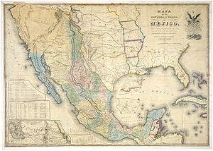 Mapa de Méjico 1847, showing the alternative d...