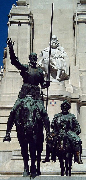 Bronze statues of Don Quixote and Sancho Panza...