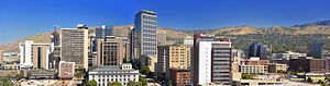 English: Photograph of downtown salt lake city