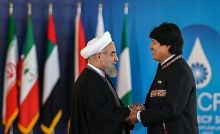 Morales with Iranian President Hassan Rouhani during the Third GECF summit.