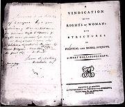 Portada de la obra de Mary Wollstonecraft, Vindicación de los derechos de la mujer