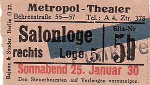 Eintrittskarte des Metropol-Theaters in der Be...