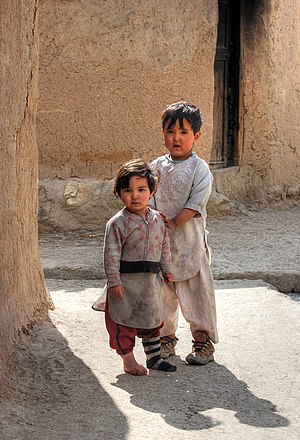 Brother and sister in the street of Qala-i-Sha...