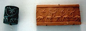 fotokwaliteit Cylinder seal lions Louvre MNB11...