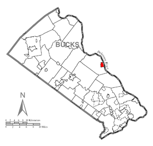 A map of Bucks County showing New Hope, Pennsy...