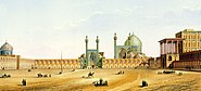 Meidān-e Emām mit der Königsmoschee (oben) und der Hohen Pforte (rechts) (Pascal Coste, 1867)