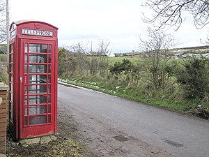 English: Phone box at Crocknabohil. One of the...