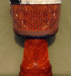 richly carved djembe [ 970 x 1347 Pixel ]