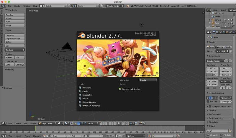 Interfaccia di Blender 2.77a