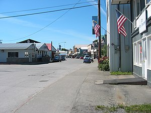 Downtown Wrangell, Alaska, looking north along...