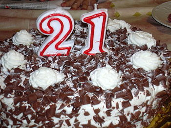 Chocolate ice cake, prepared for a 21st birthd...