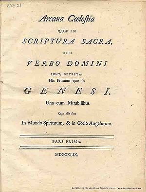 Arcana Cœlestia, first edition (1749), title page