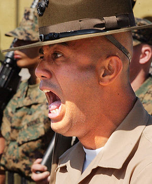 A drill instructor addressing United States Ma...