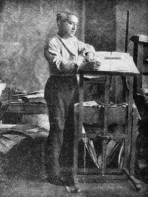 Jules Pascin (1885-1930) in his studio.