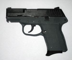 English: Side view of a Kel-Tec PF-9 9mm, semi...