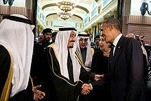 U.S. President Barack Obama shakes hands with King Salman, Riyadh, 27 January 2015