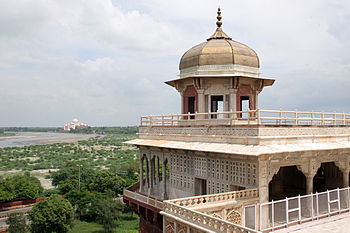 Musamman Burj at Agra Fort with Taj Mahal in t...