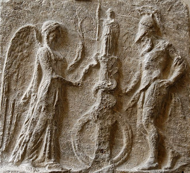Image May Be Unrelated -- Stone carving of Nike and a warrior offering an egg to a snake.