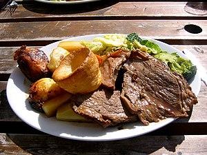 A Sunday roast consisting of roast beef, roast...