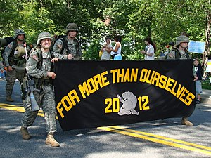 USMA's Class of 2012 display their motto durin...