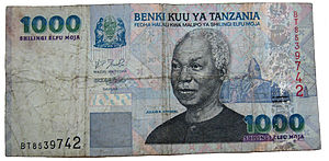1000 Tanzanian shillings note, front, displayi...