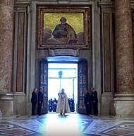 Pope Francis opens the Holy Door marking the beginning of the Extraordinary Jubilee of Mercy.