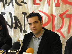 English: Alexis Tsipras in a press conference ...