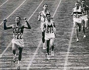 Billy Mills winning the 10,000m in the 1964 Ol...