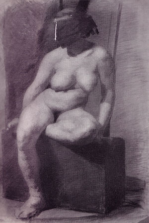 """Nude woman, seated, wearing a mask""..."