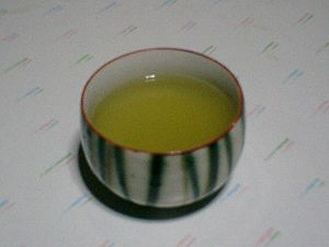 Japanese green tea in a modern senchawan bowl.
