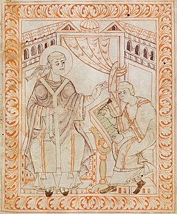 Sfântul Grigore dictând, imagine din Antifonarul de la St. Gallen.