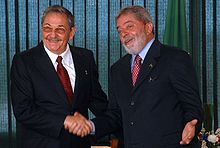 Raúl Castro with Luiz Inácio Lula da Silva, 2008