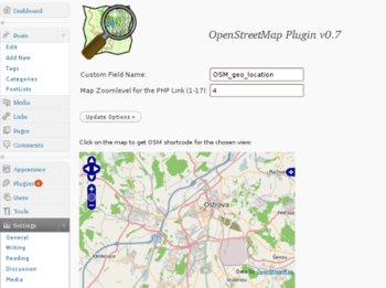 Screenshot of the WordPress Plugin OSM