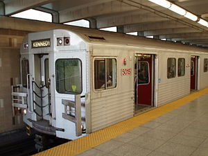 A TTC subway train at Warden station.