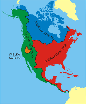 Polish-language map of North American continen...