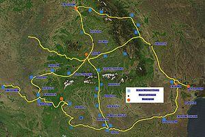 Map of Roman roads in northeast Balkans