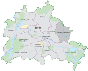 Map of Berlin with highlighted Marzahn-Hellersdorf