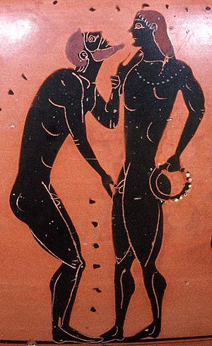 Pederastic scene: erastes (lover) touching chi...