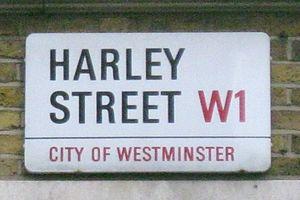English: Street sign, Harley Street, Westminst...