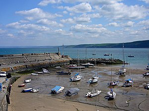 A view of the harbour at New Quay which is on ...