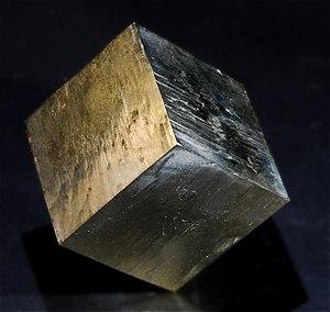 English: Pyrite cube :: Locality :Fuente del M...