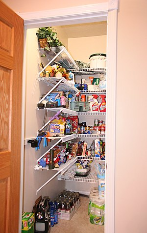 A contemporary kitchen pantry in a U.S. house.