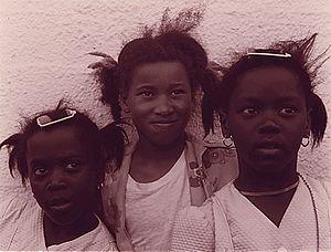 Three African American Girls, Galveston, Texas...
