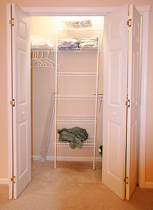 A wall closet in a residential house in the Un...