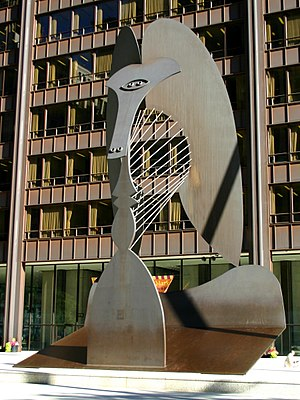 Picasso sculpture in Daley Plaza, Chicago, IL, USA