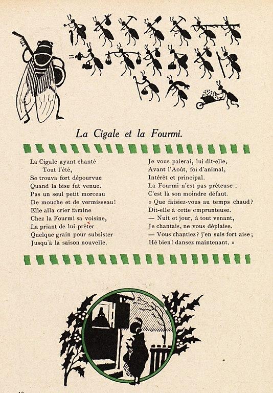 J'en Suis Fort Aise : File:Avelot, Fables, Fontaine, Cigale, Fourmi.jpg, Wikimedia, Commons
