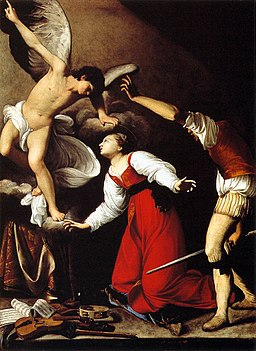 Carlo Saraceni - The Martyrdom of St Cecilia. An angel defends a woman dressed in red from a man with a sword; sheet music and musical instruments are scattered on the ground