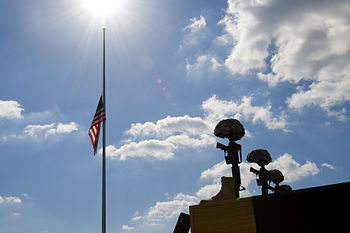 The American flag on Fort Hood, Texas, rests a...